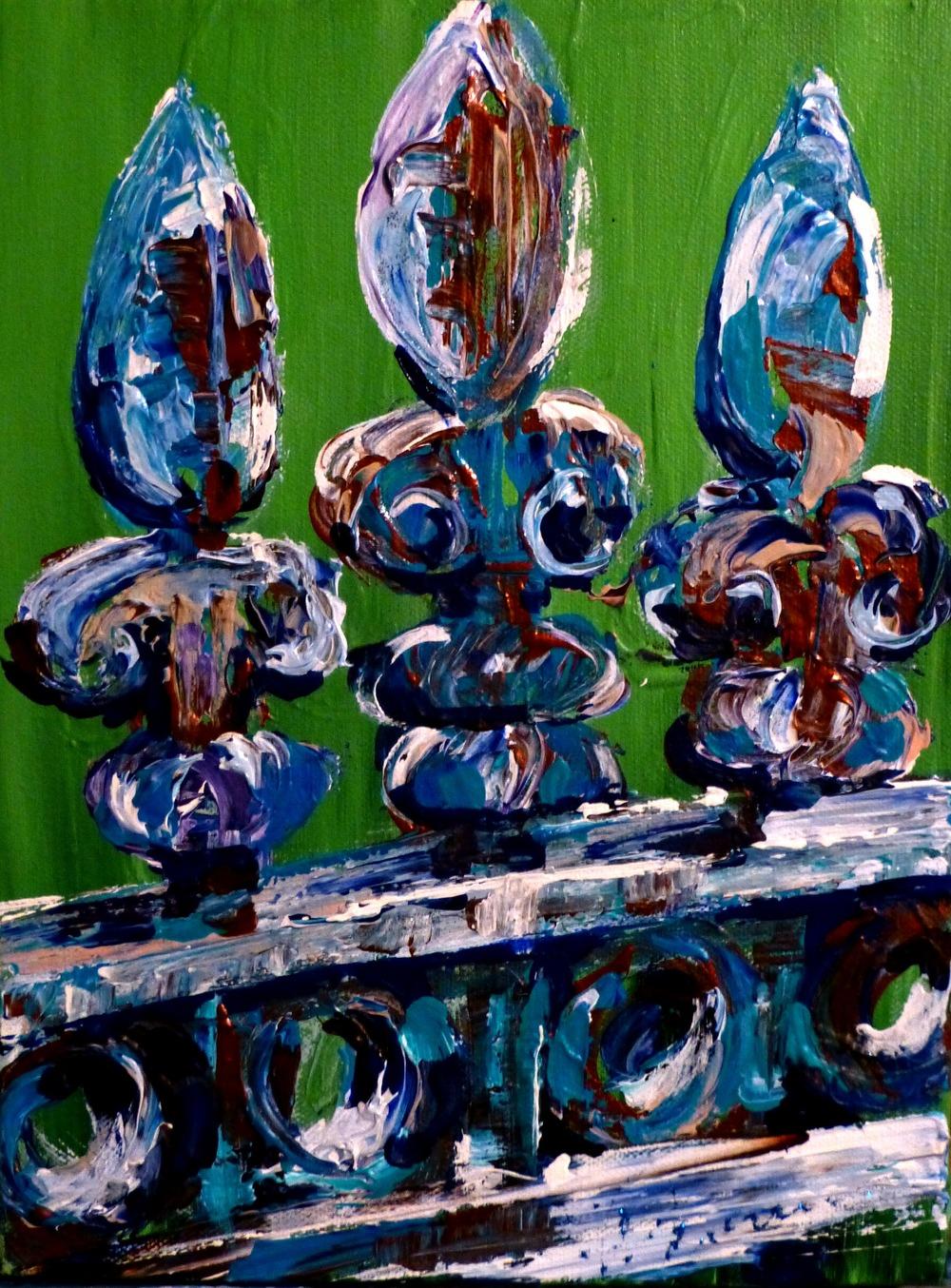 """(available) """"Fleur de Fence"""" 9""""x12"""" acrylic on canvas 2016"""