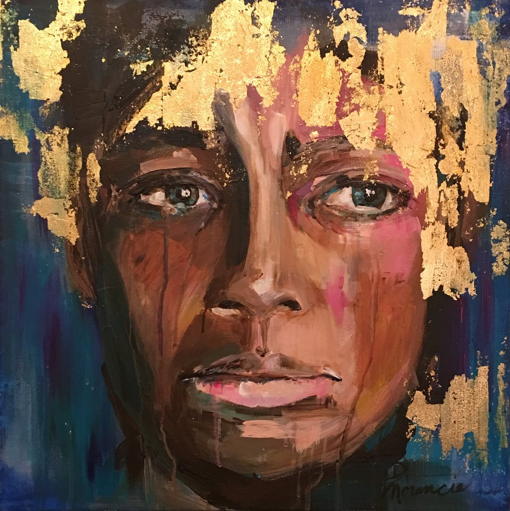 """20x20"""" acrylic and gold leaf on gallery wrapped canvas, 2016"""