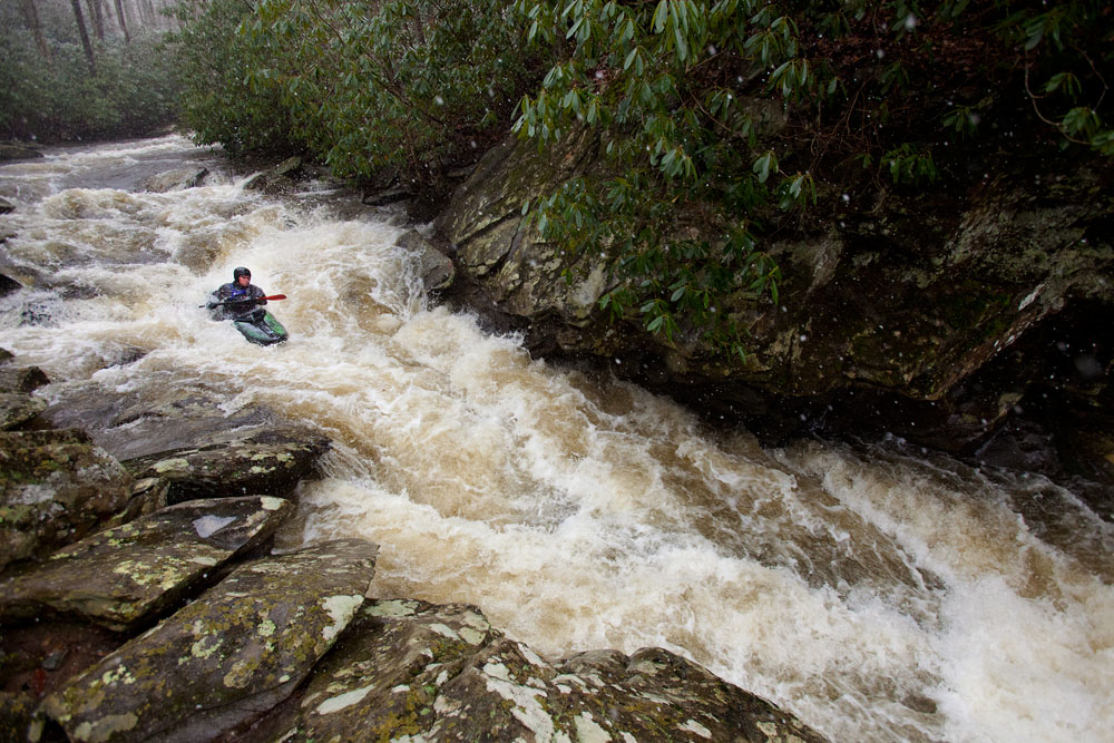 Mitch WerBell drops into a rapid along Boone Fork