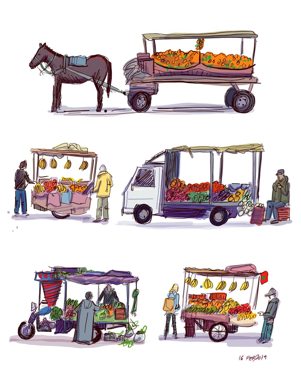 Fruit carts in Marrakech, Morocco
