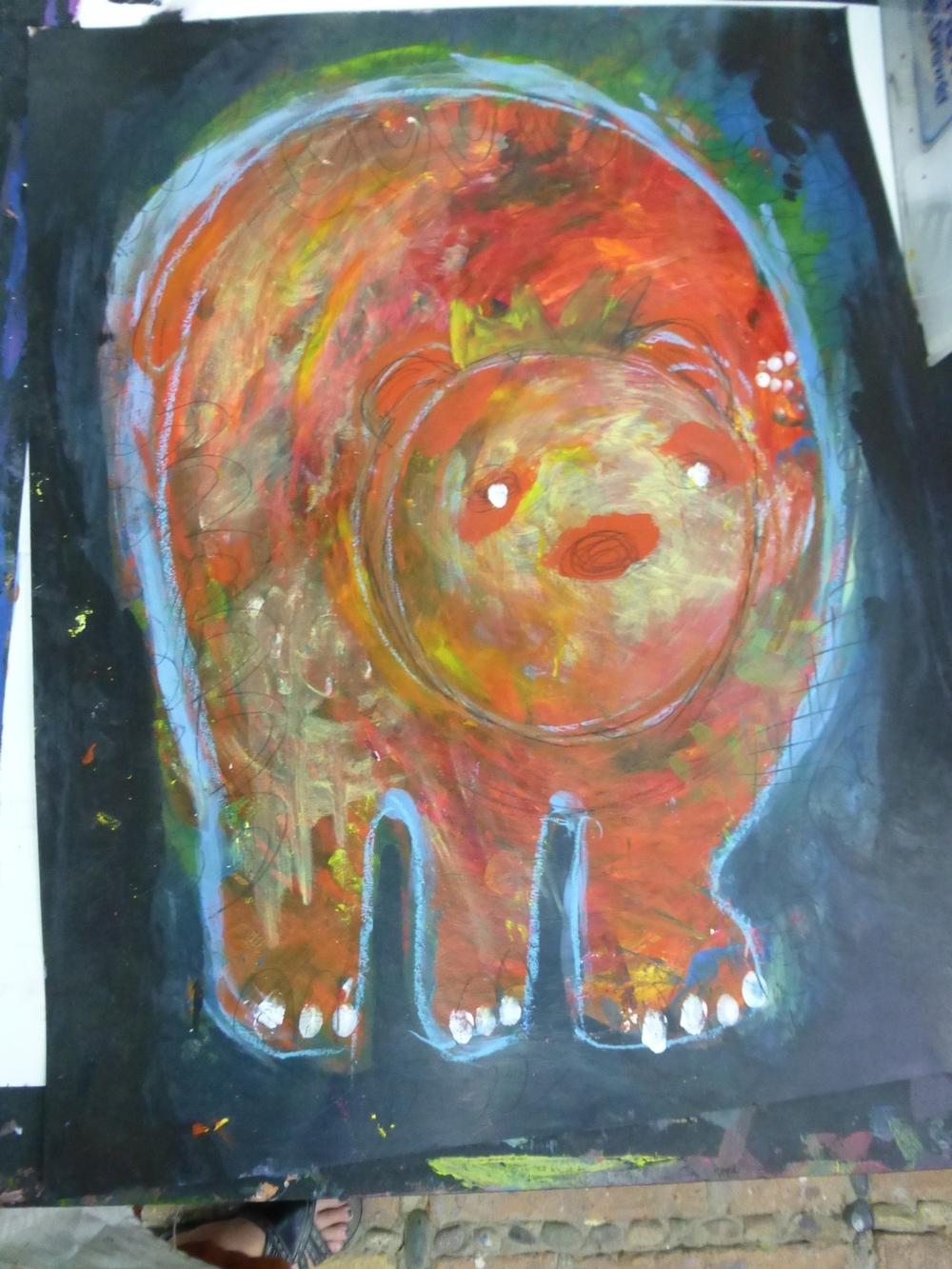 """Bear King"" acrylic by Steffanie Lorig | http://steffanielorig.com"