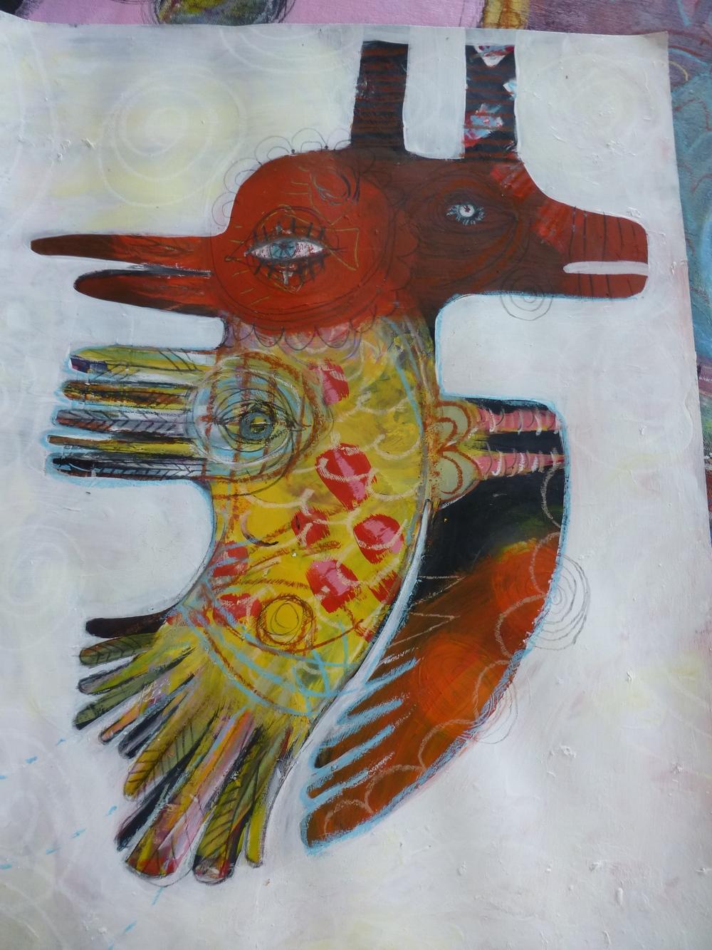 """Hummingbird Dragon"" acrylic by Steffanie Lorig | http://steffanielorig.com"