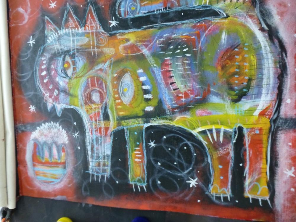 """Ave del Gato"" acrylic by Steffanie Lorig | http://steffanielorig.com"