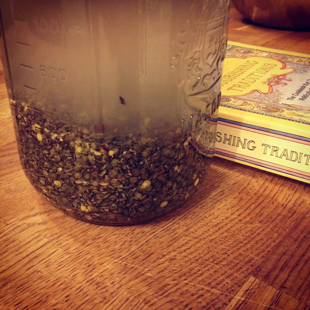 These be soaking puy lentils. In filtered water with kefir whey I keep on hand. The book from where I garnered such insights: Sally Fallon's  Nourishing Traditions.