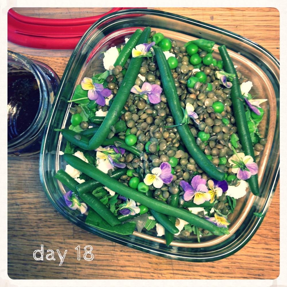 Super greens lentil feta violet salad