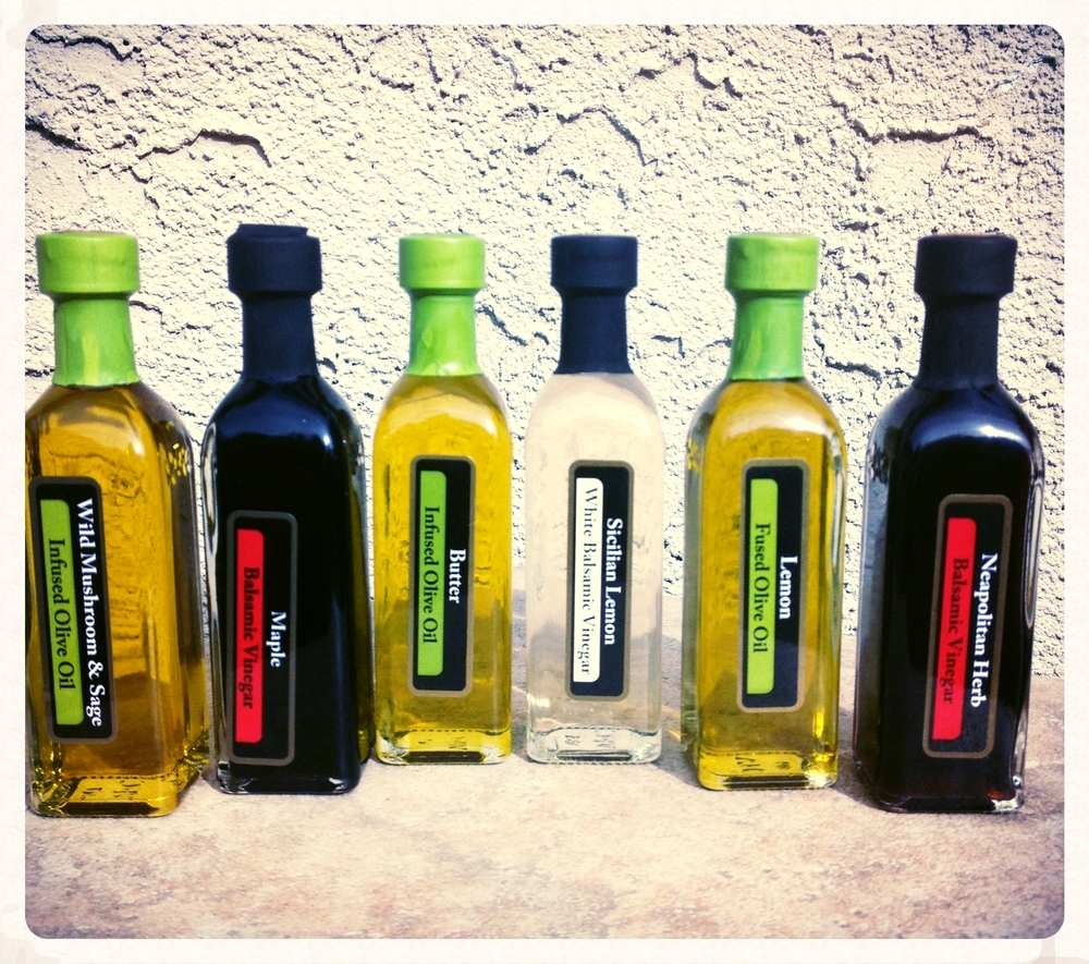 Olive oil and balsamic vinegar samples from Blue Door