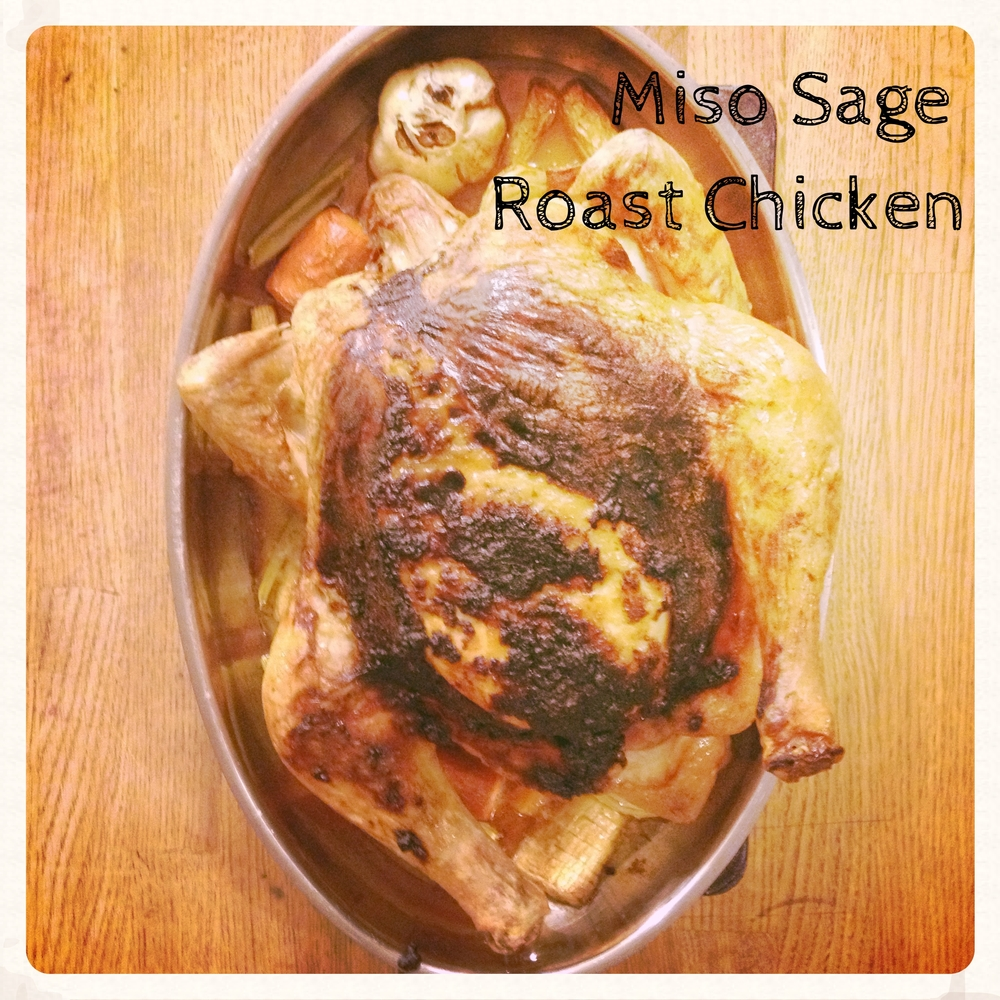 Miso Sage Roast Chicken, fresh out of the oven. So juicy.
