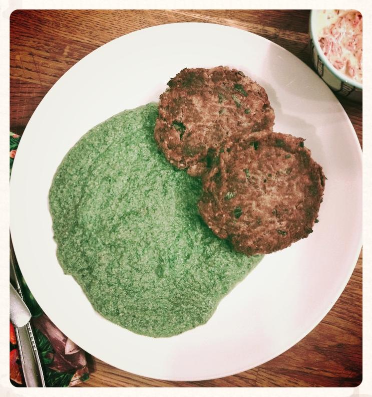 Generous helping of Palak, with Salmon Burgers and kimchi horseradish compound mayo.