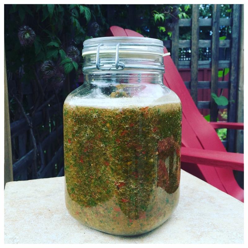 Gazpacho fermenting in my 2L Fido jar.
