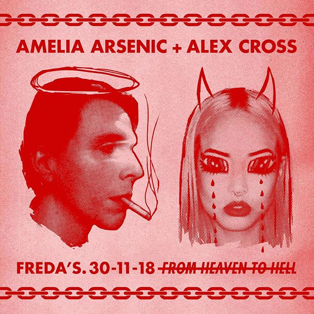 Sydney fiends, we're going from 😇😇😇 to 🔥🔥🔥 at @fredas_bar tonight. I'll be playing a live show then DJing so put your dancing shoes on! 💃🕺🦇Xx  Set times: Alex Cross: 9pm Amelia Arsenic: 10pm DJ Alex & DJ Amelia & DJ Batesy after until 3am