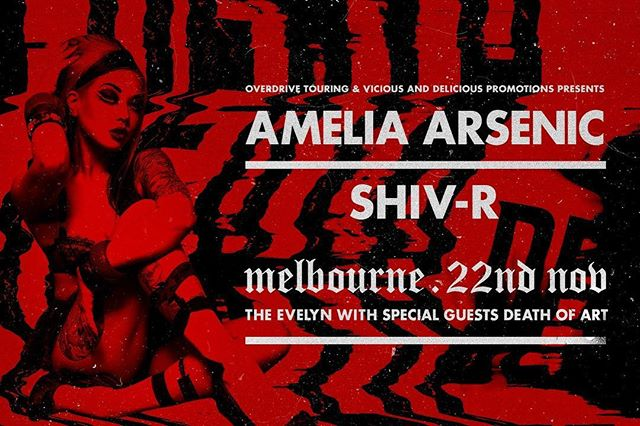 Aussie industrial is a thing! It's nice to be home and playing a show with the Melbourne's finest Shiv-r, supported by @death_of_art ❤️🐨🖤🦇💞 Doors at 9pm. @virul3nt @blindmiceproductions @overdrivemusicmagazine