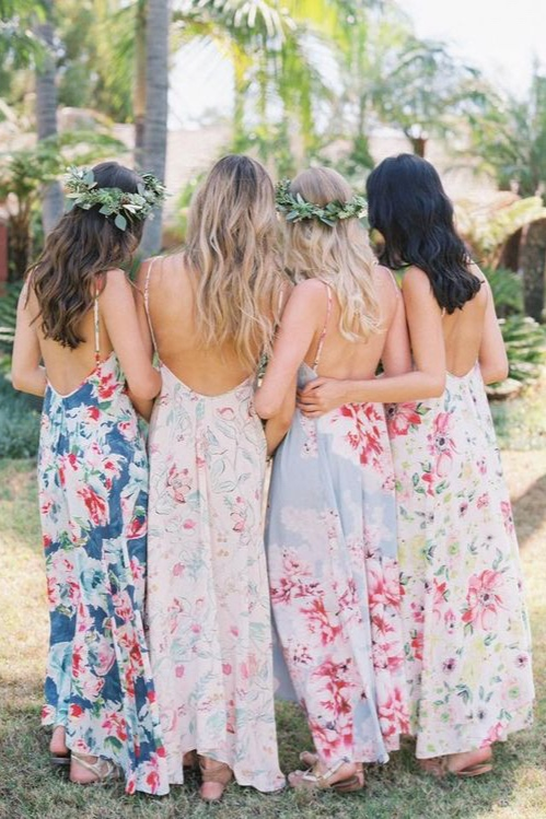 Mismatched Florals! - These are so beautiful and even though they aren't identical they still blend well and would create a beautiful color palette especially with a bride in the middle!