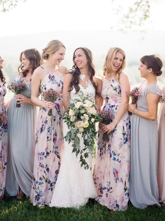 Floral & Solids! - Now, here we have a mix of floral and solid and I am LOVING this! Also, love that the bridesmaids bouquets aren't as powerful as the brides. That allows the bride to stand out on her big day as she should!
