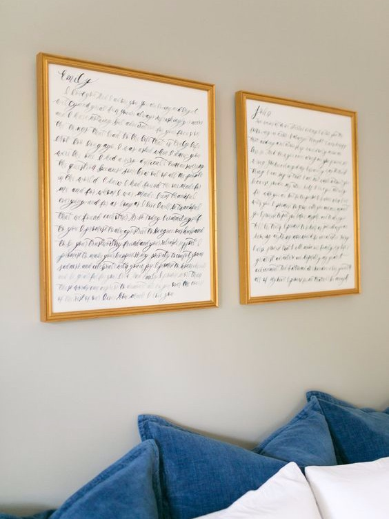 Handwritten Vows - This is also a beautiful way to display your vows. And after the wedding, you can hang them up in your home as a reminder of your special day!
