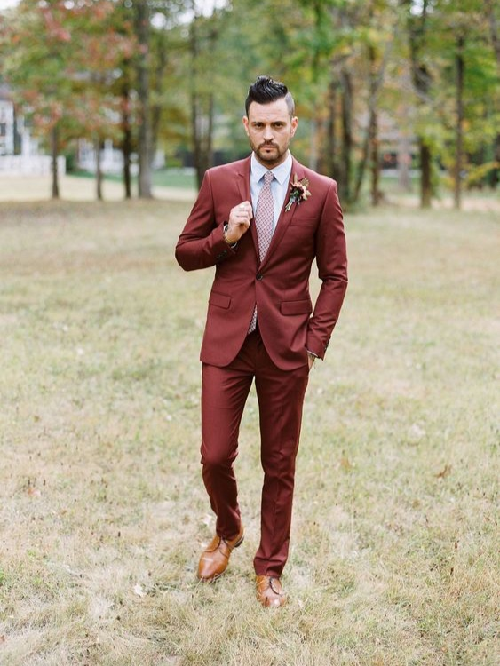 Bring on the Red! - Gosh! I love this color in general, but I think it would love amazing as a grooms suit! What a unique statement that everyone will love!!!