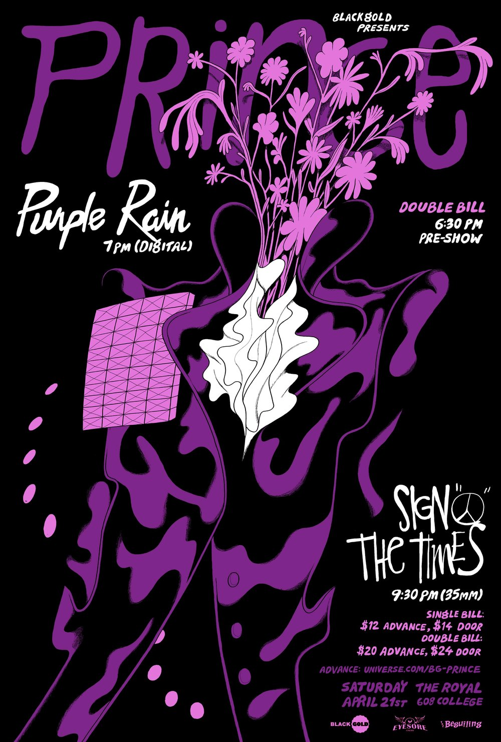 Poster for Black Gold's screening of Purple Rain/Sign 'O The Times