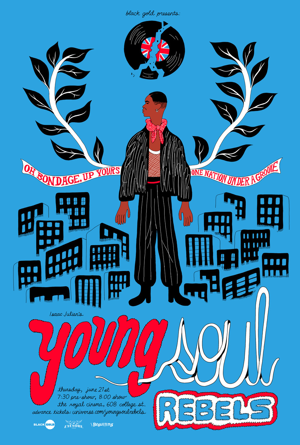 Poster for Black Gold's screening of Young Soul Rebels