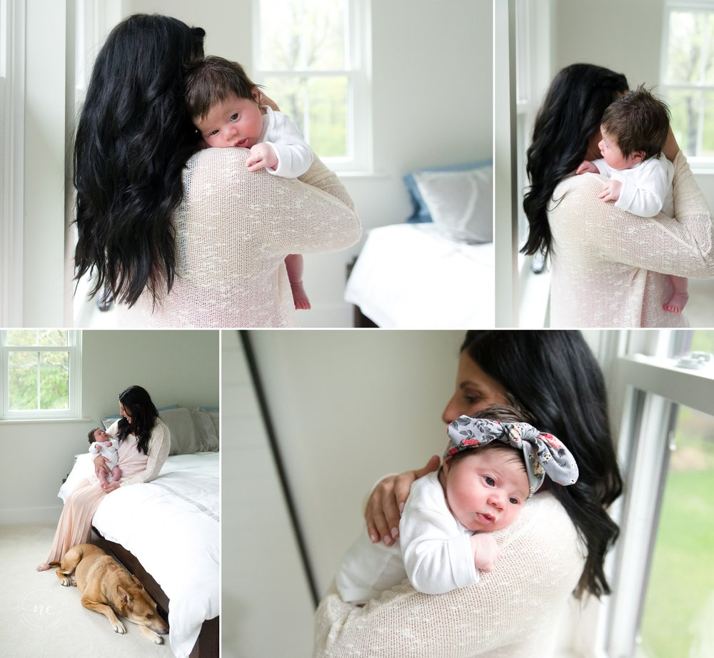 In home newborn photography window