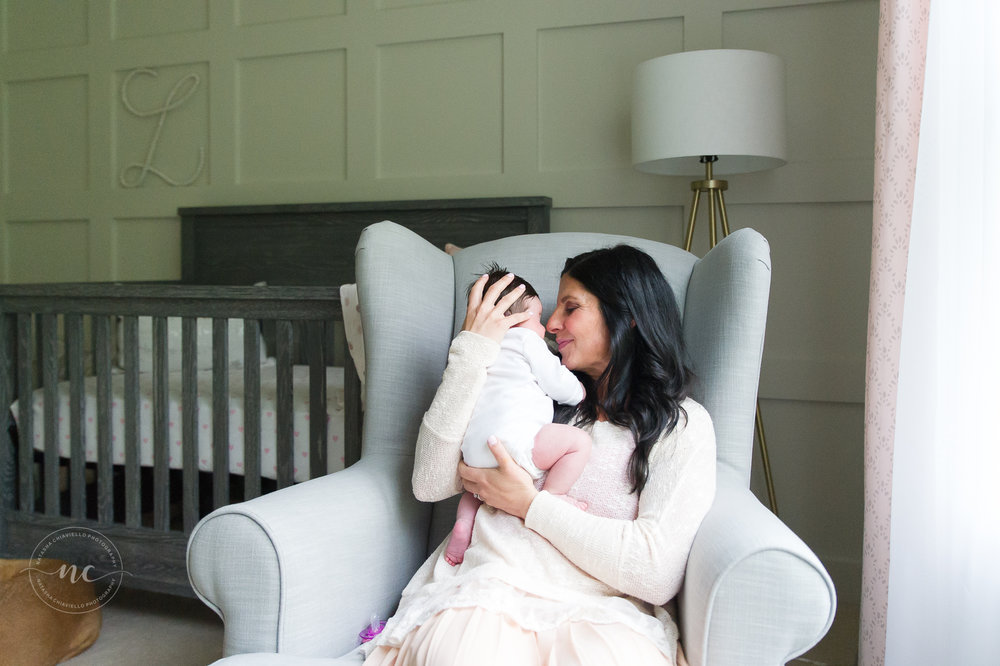 mommy and baby in nursery