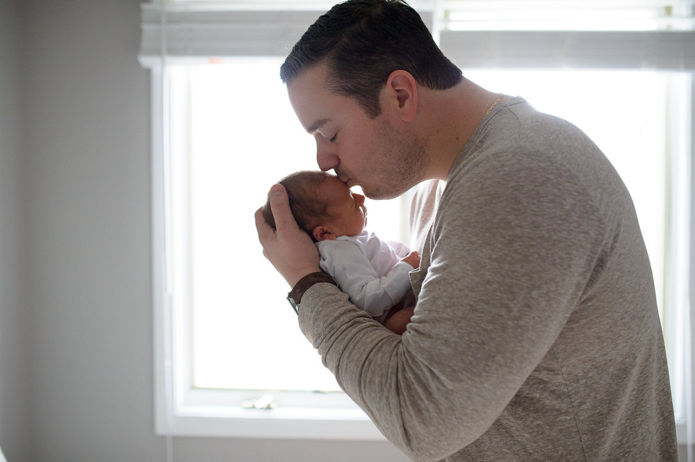 fatherhood, father with newborn son, bergen county newborn photographer, natasha chiaviello photography