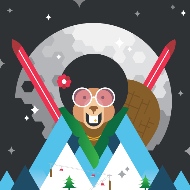 An illustrative poster for Beaver Valley Ski hill's women's weekend: Beaver Fever.