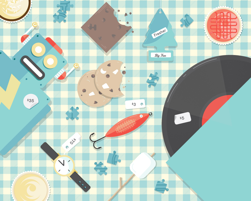 Illustration for a flea market: robot, fishing lure, record, watch, cookies.