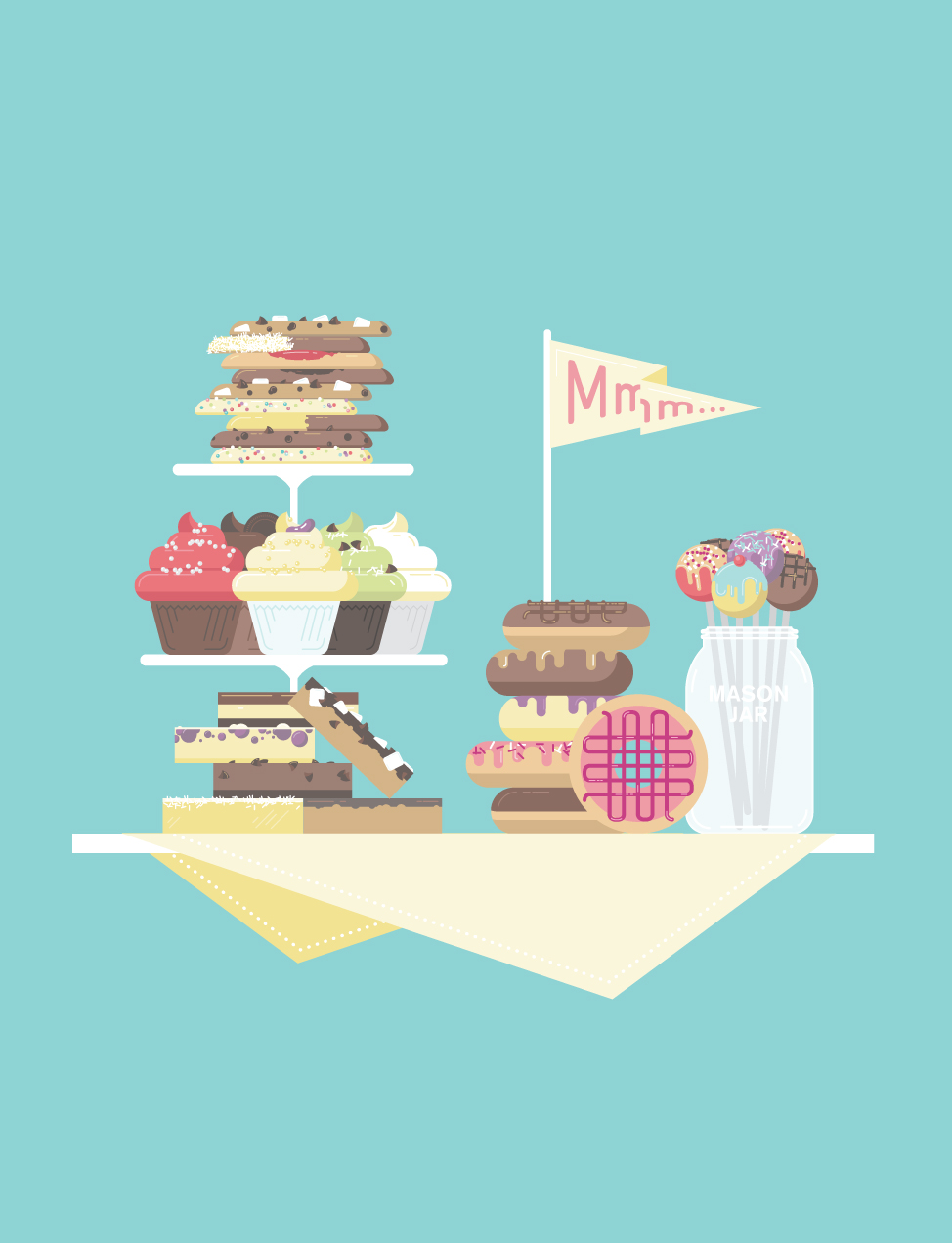 Dessert table illustration — donuts, cupcakes, cake pops, squares and cookies.