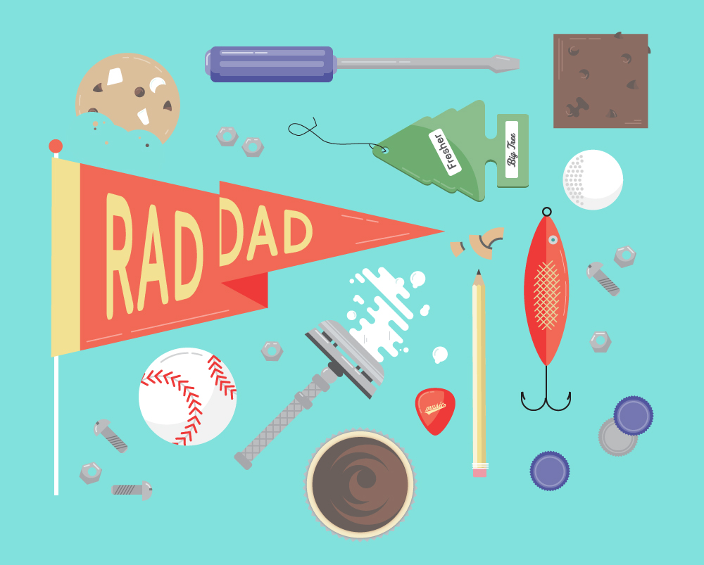Father's Day illustration for all the Rad Dads — give him cupcakes.