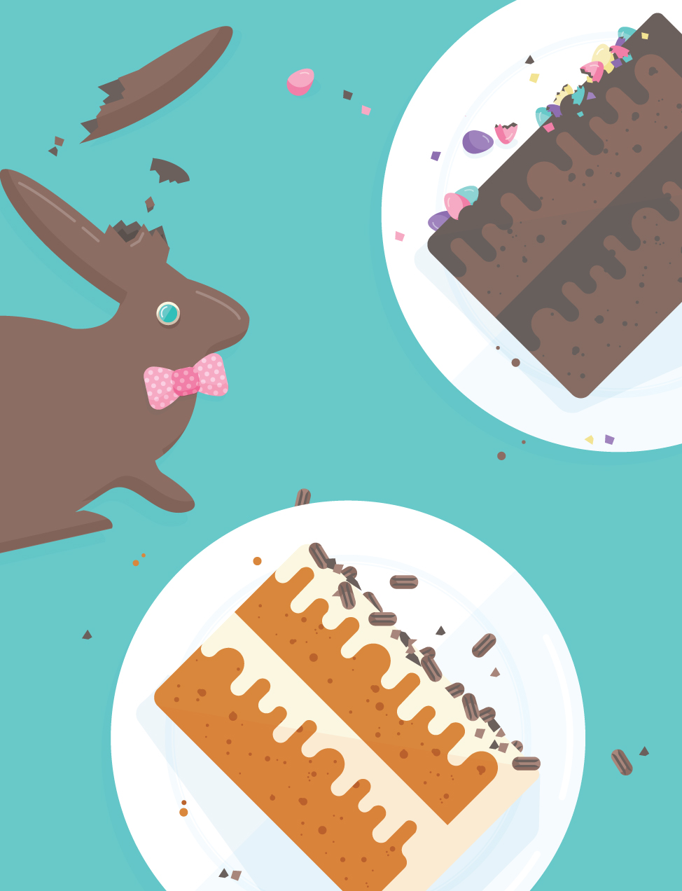 Easter illustration: broken chocolate bunny and cakes.
