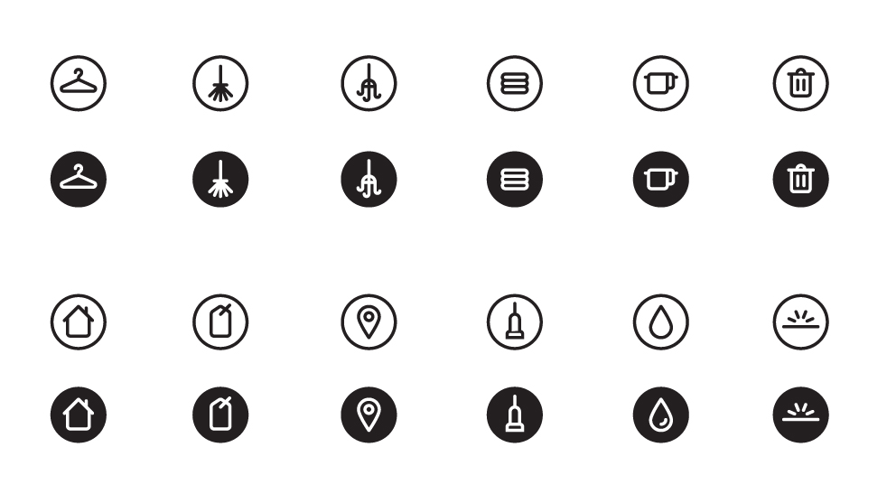 A set of cleaning icons designed for Spotless.
