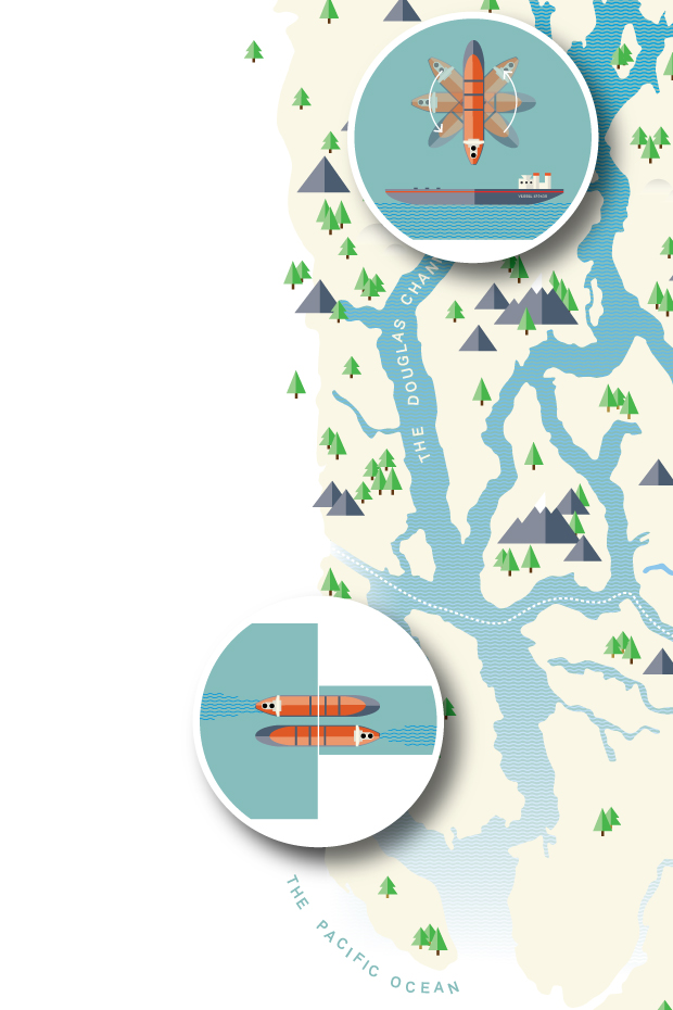 An  illustrated  infographic map of the Douglas Channel.