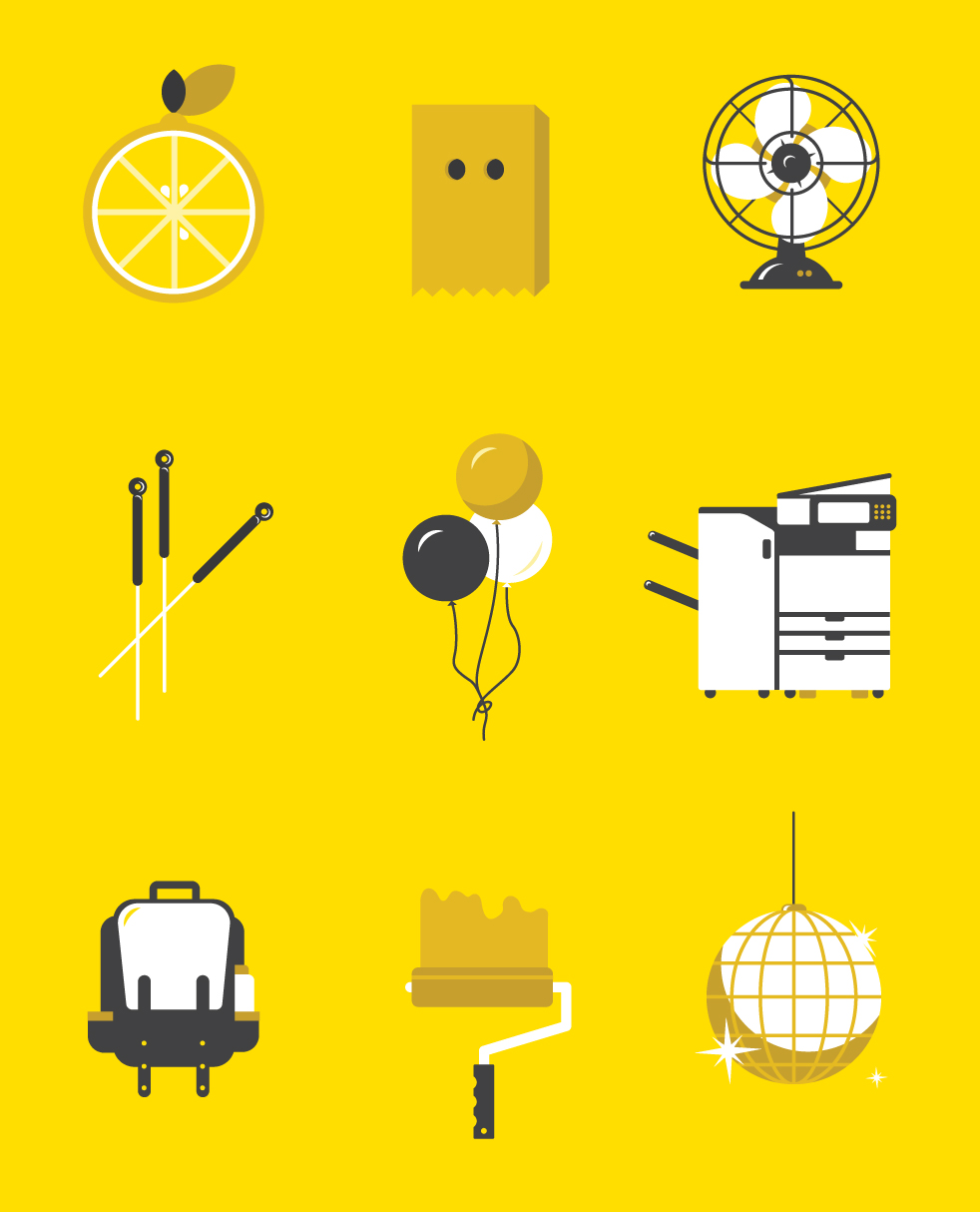 Illustrations from the Yellow Pages neighbourhood campaign.