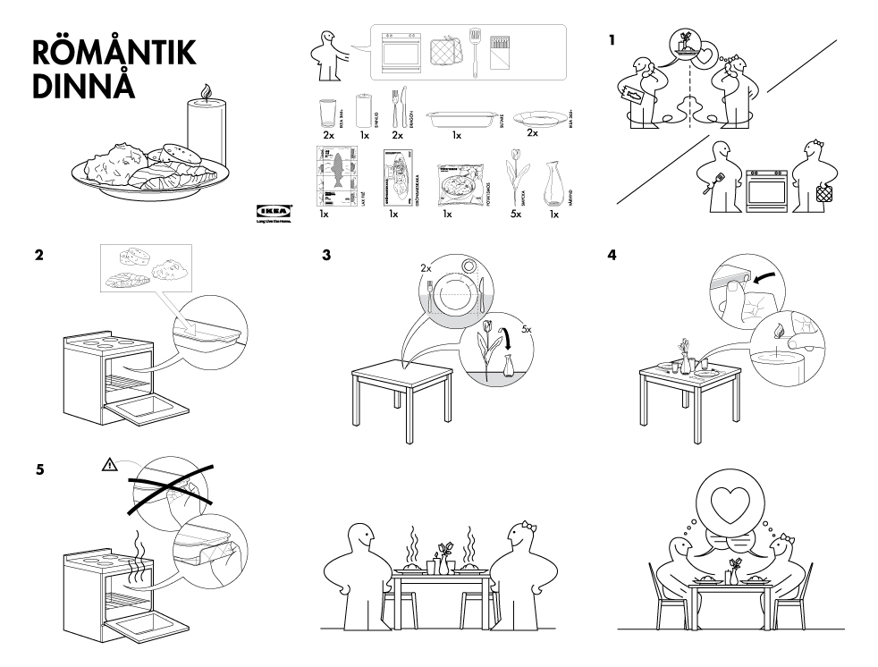 Illustrative infographic: IKEA assembly instructions for a romantic dinner.
