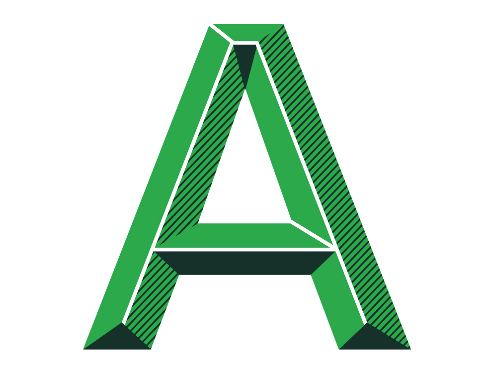 The letter A from the illustrative typeface designed for TD Bank.