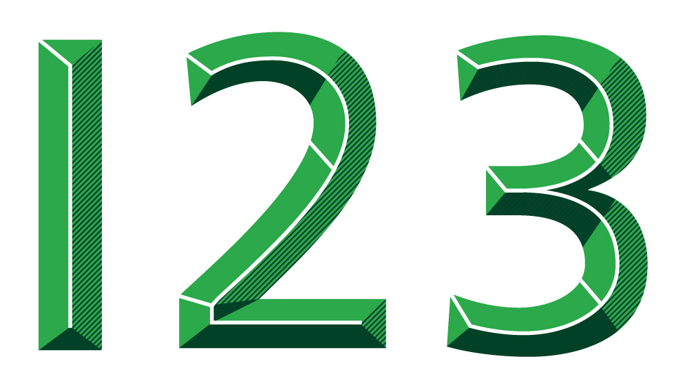 Numerals from the illustrative typeface designed for TD Bank.