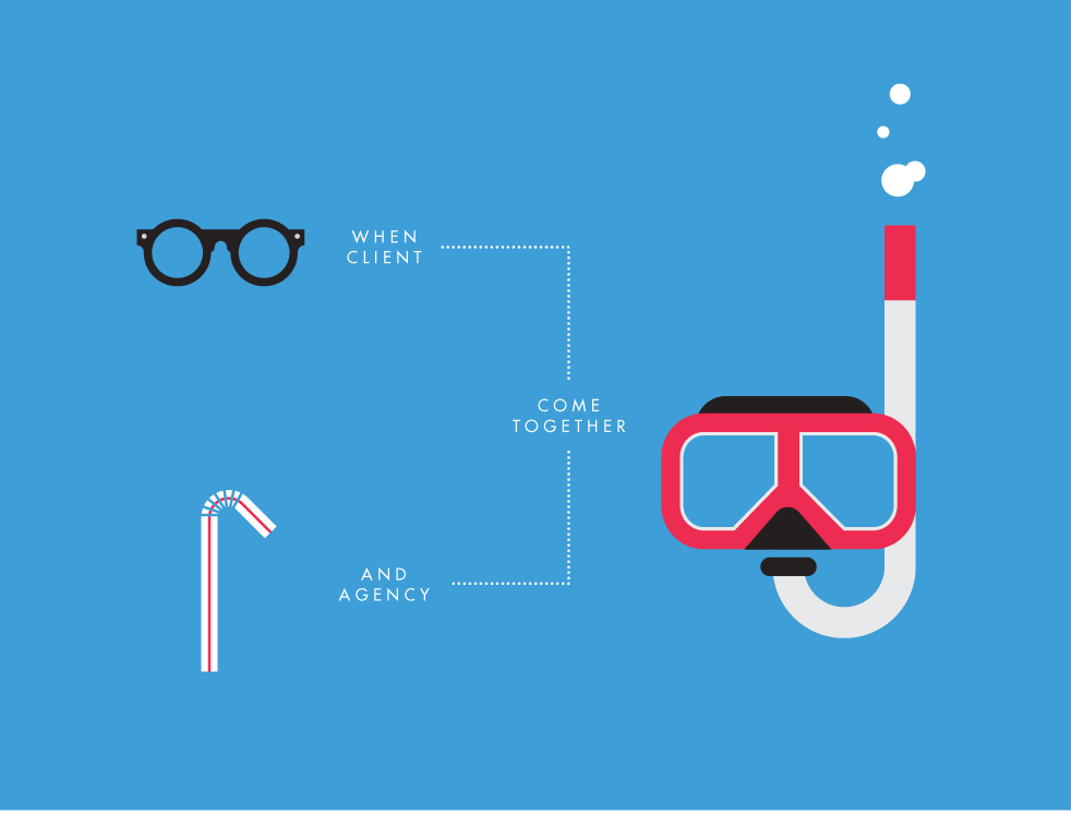 Illustrative campaign for the CMA's — glasses plus straw equals snorkel.
