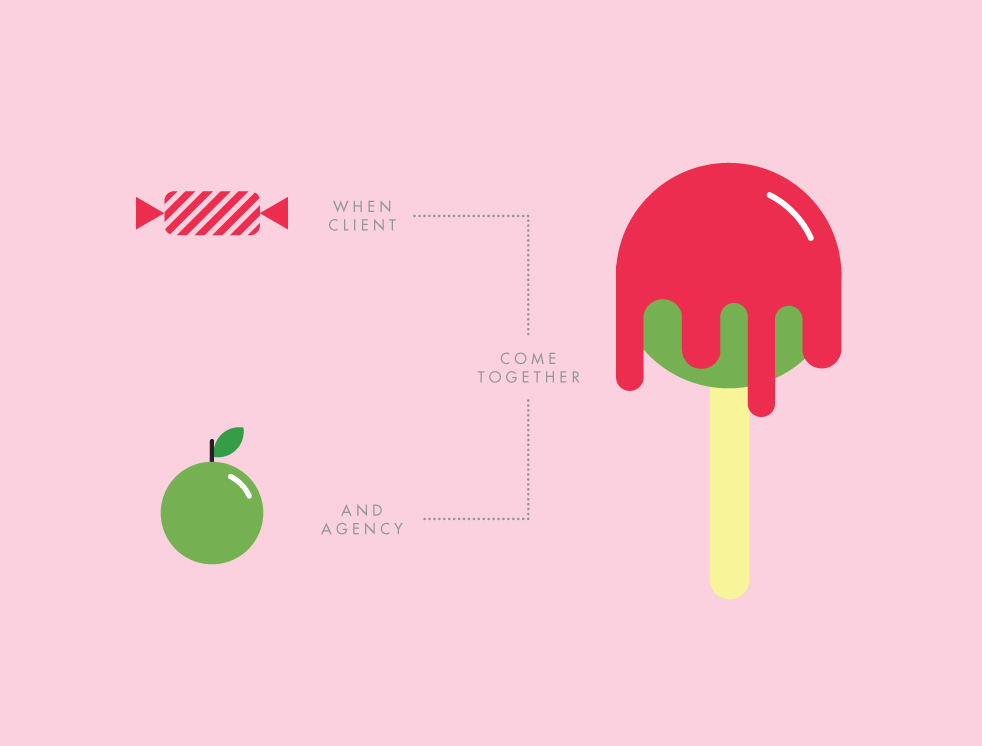Illustrative campaign for the CMA's — candy plus apple equals candy apple.
