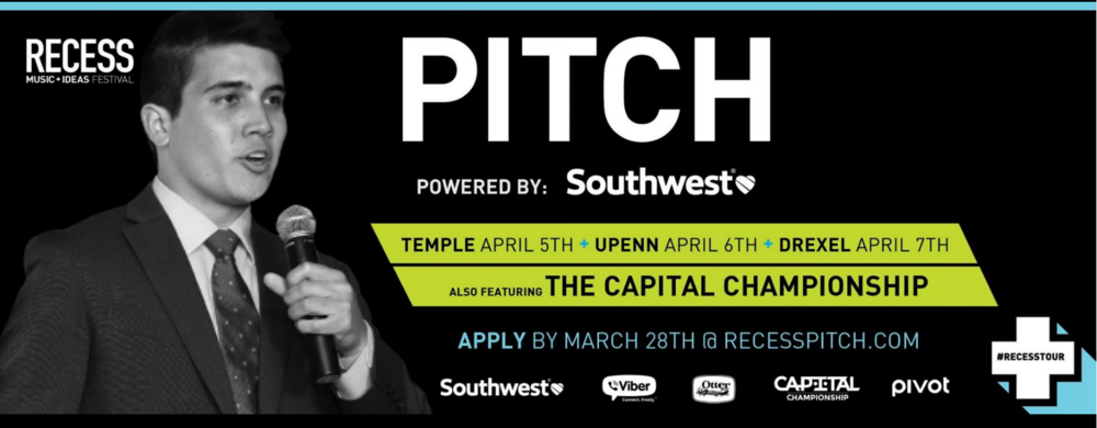 Do you have a brilliant startup idea? Want the chance to take your business idea from the dorm room to the boardroom? Partnered with Delta Sigma Pi, RECESS will bring the nation's only touring college Music + Ideas Festival to University of Pennsylvania on April 6th 2016. Student entrepreneurs are given the chance to pitch their startup ideas to the biggest VCs and investors in the country in a fire pitch competition.