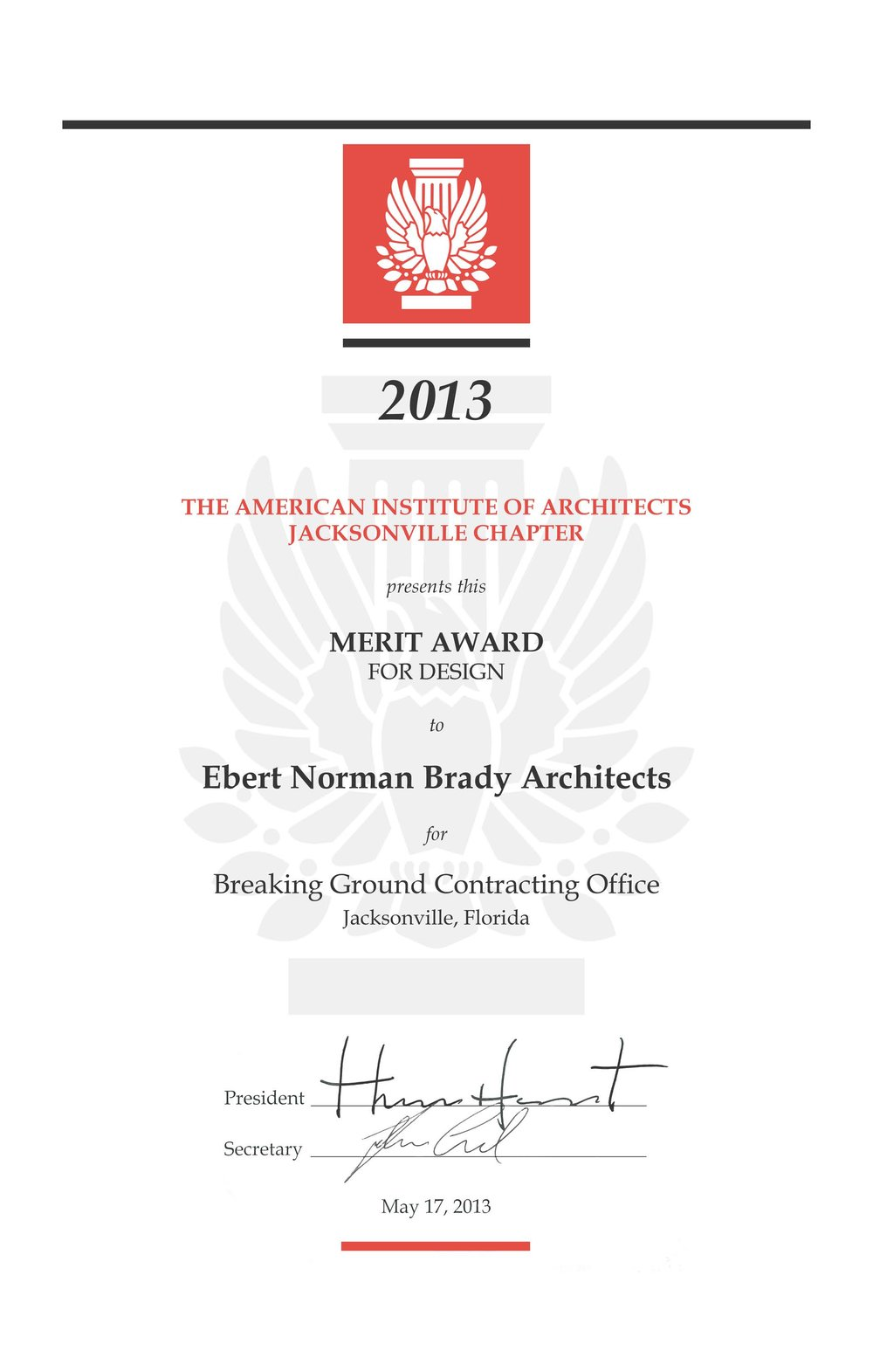 AIA Award 2013 Breaking Ground Certificate.jpg