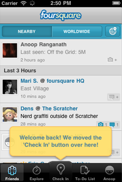 Foursquare 4.3 for iPhone screenshot from the Foursquare blog