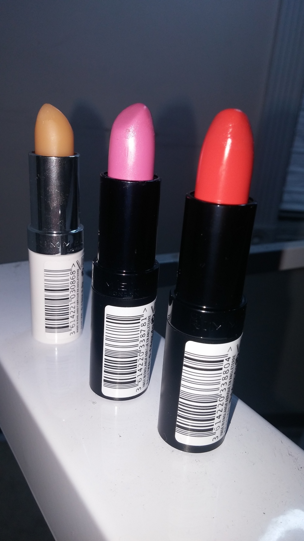 Left to right: Lip conditioner, #35, #37.