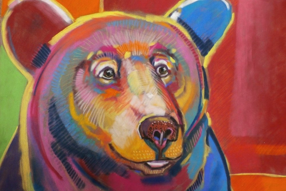 "Sue Rowe - Booth 95 I use pastels, oils, or acrylics on surfaces ranging from velour mat board to Masonite to canvas to create a world of whimsey and color. ""Bears"" are a large part of this world, but only a part."