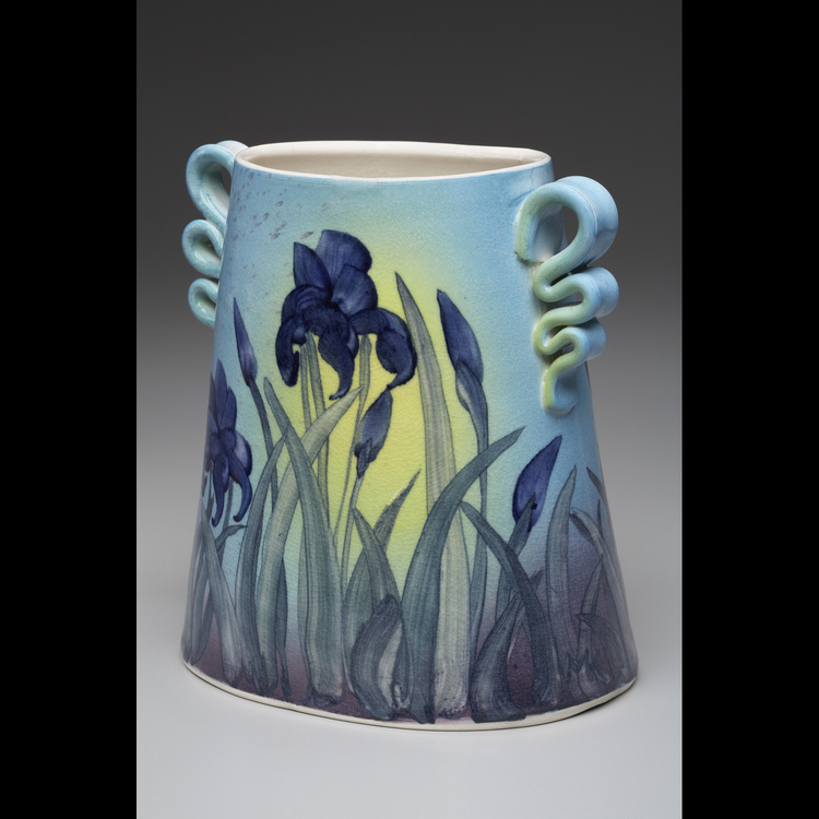 William Kaufmann and Cynthia Mosedale - Booth 27 Thrown porcelain Clay. Background colors in ceramic stains, slips applied with brush and washes. Hand-brushed surface motifs in ceramic stains- clear glazed, high fire, signed work