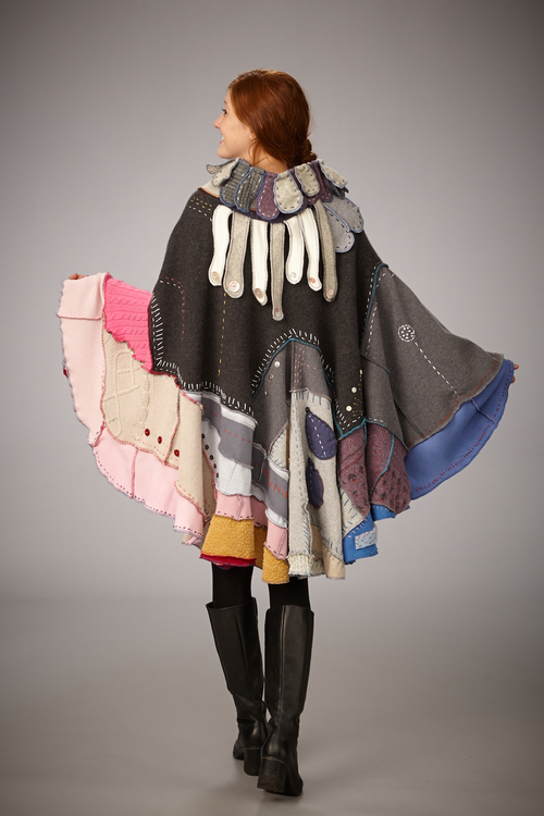Jeanne Weymouth - Booth 18 I deconstruct, then reconstruct recycled clothing in order to create one-of-a-kind garments ranging from shirts, sweaters, coats, to pants, capes and skirts.