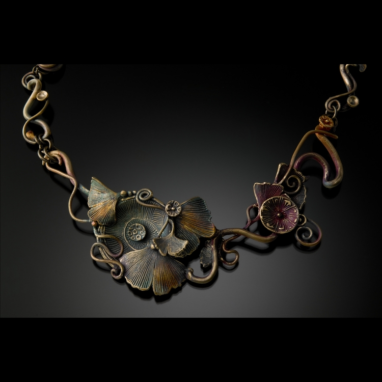 Kate Qualley Peterson - Booth 31 Powdered metallurgy, primarily, bronze. Each hand sculpted piece is kiln fired twice for a total of over 14 hours. #1 to sinter, #2 for color patina. Other elements added as dictated by the design.