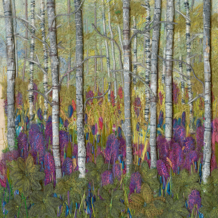 Julie Crabtree - Booth 88 Combination of paintings with stitchery and the inclusion of other mediums. Stitching by hand and free motion machine, drawing with a needle and thread. also some felting, distressed fabrics and beads