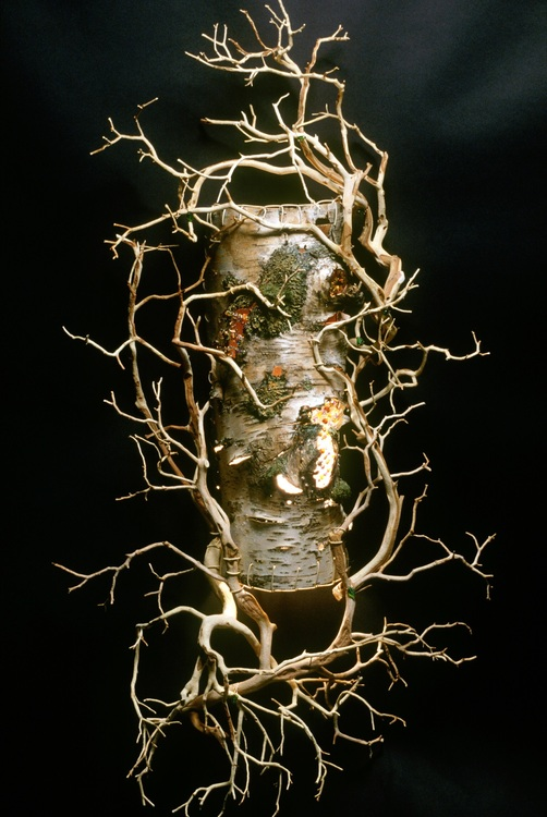 Brenda Griffin - Wagner - Booth 63 Lighted sculpture of found natural materials; birch, driftwood, stones, handmade paper/beads/wire.