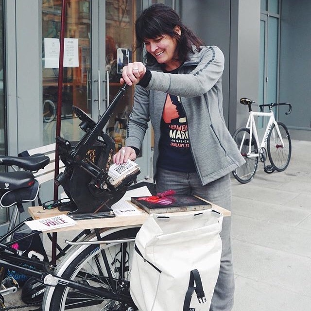 Sister Black (Bike) Press   - Where: Red Wing Arts Booth When: 10:00am - 5:00pmVisit the Red Wing Arts Booth from 10:00 am - 5:00pm Saturday to see a Mobile letterpress printing on the back of a bike!  Stop by and print your own poetry card.