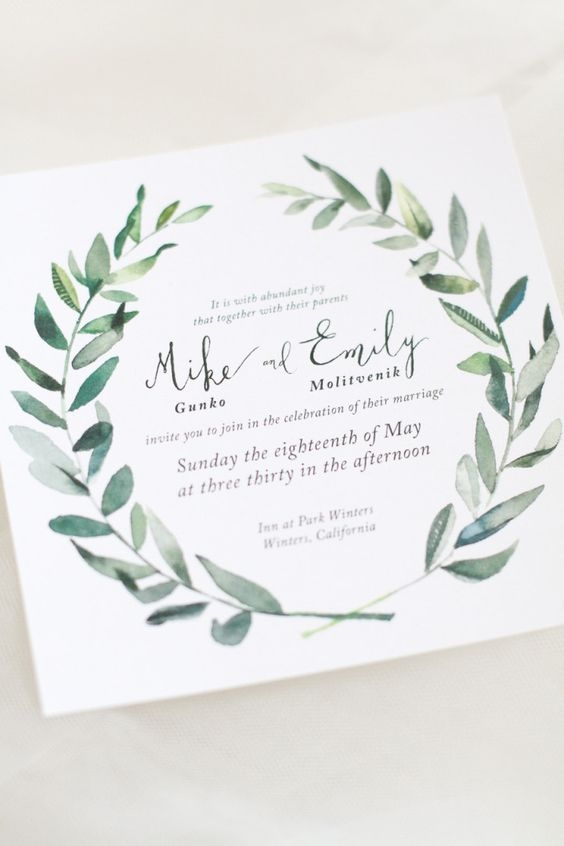 Invites with Greenery Motifs