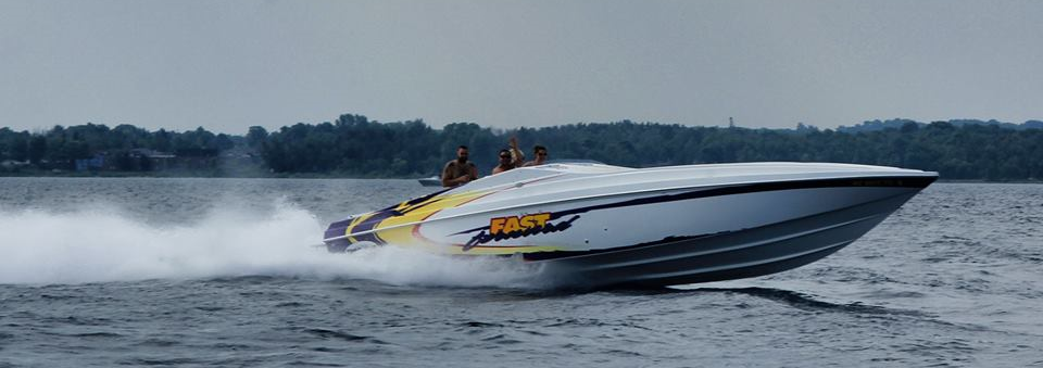 Derek Powers and Chasity Glavich cruising in their new 37 Active Thunder on Lake Charlevoix.